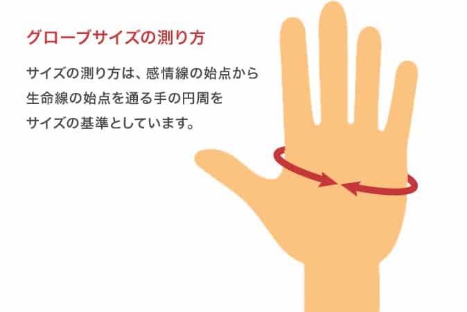 グローブサイズの測り方 サイズの測り方は、感情線の始点から 生命線の始点を通る手の円周をサイズの基準としています。