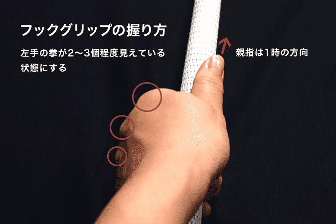 フックグリップの握り方 左手の拳が2〜3個程度見えている 状態にする 親指は1時の方向